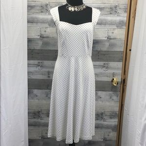 Torrid White & Black Swiss Dot Retro Swing Dress